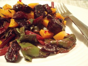 Roasted Butternut Squash, Caramelized Beets, and Beet Greens