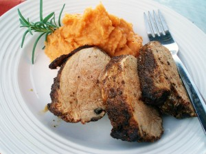 Coffee-Chile Pork Tenderloin and Mashed Rosemary Sweet Potatoes