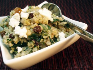 Quinoa Salad with Spinach, Raisins, and Walnuts