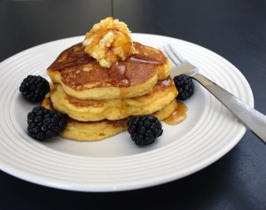 Gluten-Free Cornmeal Pancakes with Maple-Orange Butter