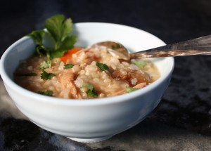 Turkey Congee (Jook) with Brown Rice