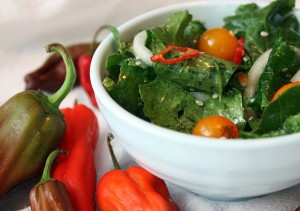 Spicy Kale Salad with Tomatoes and Chiles