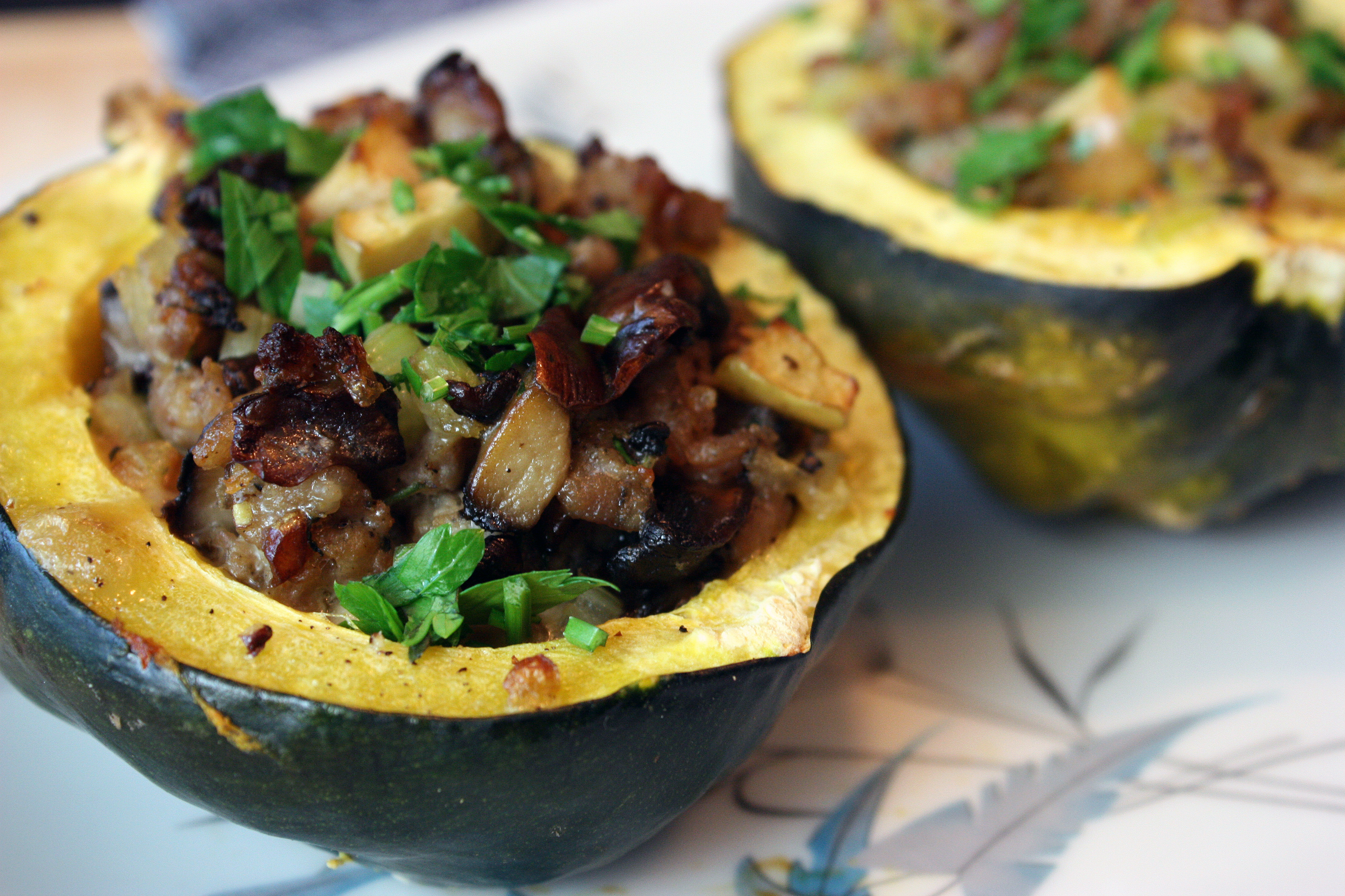 Sausage-Stuffed Acorn Squash at Gluten-Free Homemaker