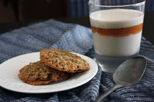 Daring Bakers: Dairy-Free Panna Cotta with Peach Thyme Gelee, and Gluten-Free Florentine Cookies