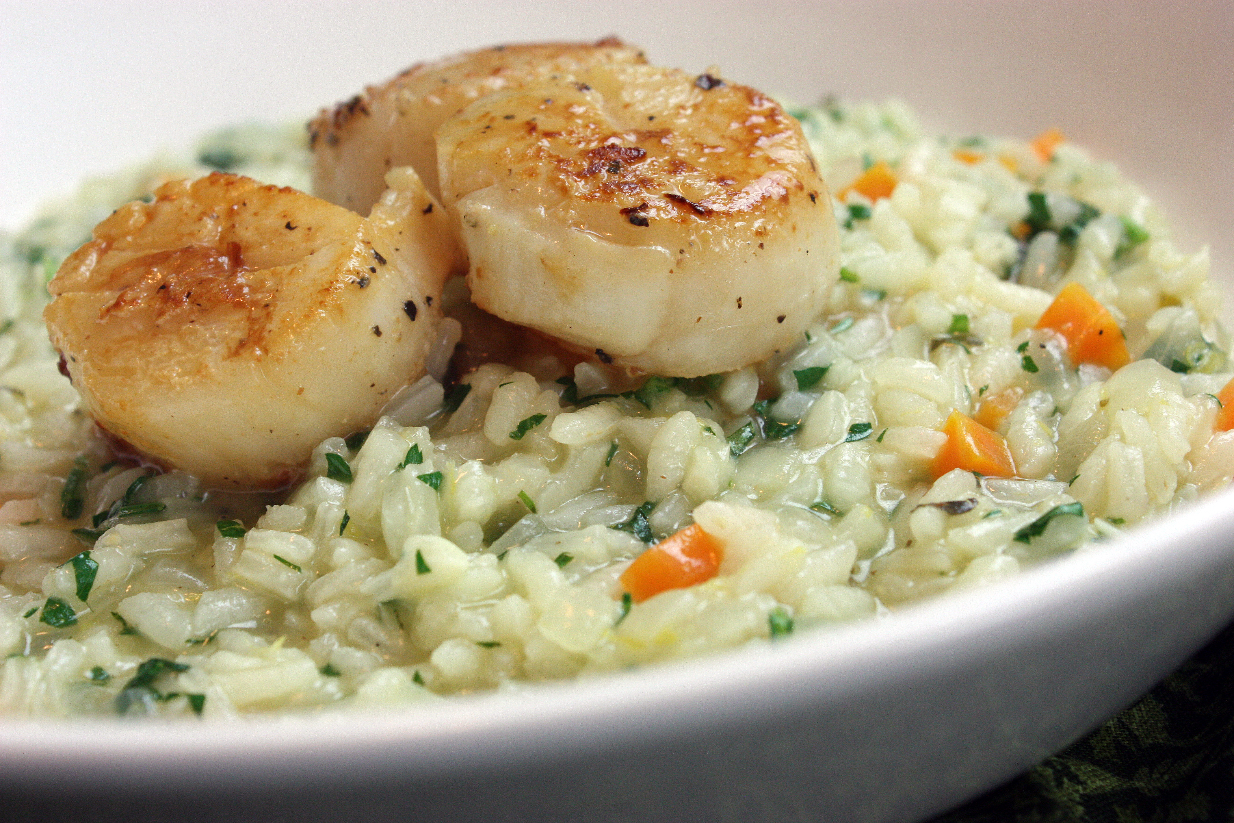 Seared Sea Scallops with Lemon Herb Risotto