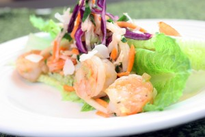 Shrimp Lettuce Wraps with Jicama Slaw