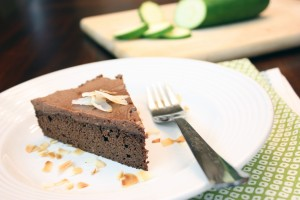 "Chocolate Zucchini Cake with Chocolate Coconut ""Buttercream"" Frosting"