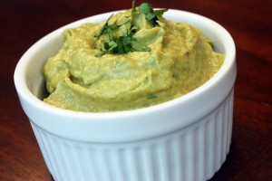 Roasted Poblano-Avocado Cream (and Pan-Fried Tilapia)