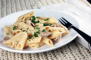 Heartland Gluten-Free Pasta: Andouille Penne with Smoky Garlic Cashew Cream