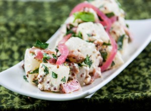 "Turnip ""No Potato"" Salad with Grainy Mustard, Bacon, and Pickled Red Onions"
