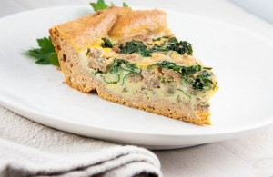 Chorizo and Chard Quiche with a Sweet Potato Crust