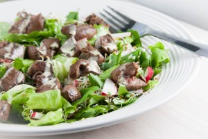 Balsamic Lamb Heart Salad with Creamy Vinaigrette