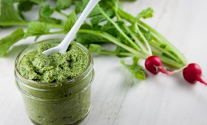 Radish Top Pesto with Walnuts and Hemp