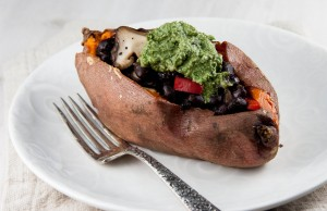 Radish Top Pesto Stuffed Sweet Potato (with Black Beans, Red Pepper, and Shiitakes)