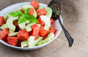 Watermelon-Cucumber Salad with Basil