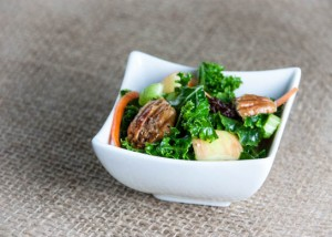 Autumn Kale Salad with Apples and Candied Pecans