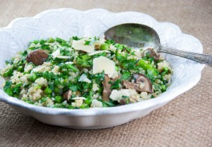 "Asparagus, Kale, and Mushroom Brown Rice ""Risotto"""