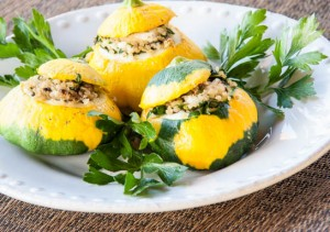 Quinoa, Mushroom and Kale-Stuffed Patty Pan Squash