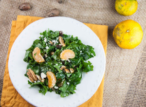 Kale Salad with Satsumas, Pecans and Feta