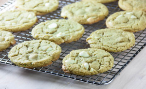 Pistachio Butter Cookies with White Chocolate Chips